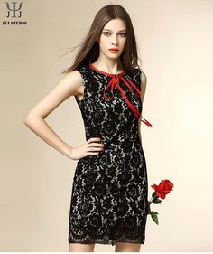 Aliexpress.com : Buy Pink Lace Dress Short Patchwork Bandage Dress With Neck Women Sexy Transparent Dress Black Sleeveless Bodycon Dress Cute Office from Reliable dress up casual dress suppliers on JYJ STUDIO | Alibaba Group
