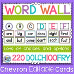 Word Wall! Enter for your chance to win 1 of 3. Word Wall - Chevron  (100 pages) from First Grade Fun Times on TeachersNotebook.com (Ends on on 09-01-2015) Word Wall.