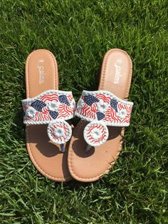 4th of July Giveaway! (Follow LifeLoveLilly on Instagram for details) 4th of July necessity this summer! https://www.etsy.com/listing/237638821/lilly-pulitzer-inspired-flag-sandals