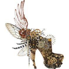 zapatos con engranes y alas de mariposa