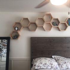Set of 5 Medium Deep Hexagon Shelves, Honeycomb Shelves, Floating Shelves, Geometric Shelves Shelves, Geometric Shelves, Crate Shelves, Floating Shelves, Hexagon Shelves, House Organisation, Home Decor, Deep Shelves, Hexagon
