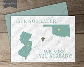 Moving away gift / card / best friend moving away / present / going away party sign / decoration / state cut outs / hot air balloon