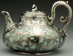 Teapot with sterling overlay & handle