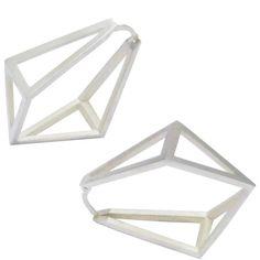 Stephanie Bates Med Silver Kite Hoop Earrings 9MXW5LTM