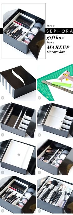 DIY: how to make a makeup storage box from a sephora gift box
