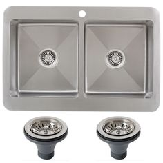 Ticor TR1800BG-DEL 33 Inch 16 Gauge Double Bowl Stainless Steel (Silver) Overmount Drop-in Kitchen Sink (16 Gauge), Size Over 22