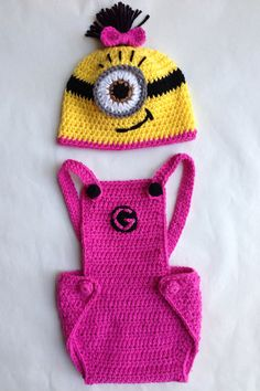 Pink Girl Minion Hat Overalls & Booties by Evermicha on Etsy, $60.00