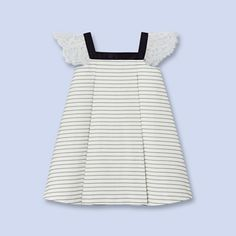 Striped lace sleeve dress SOFT WHITE/MULTICO Girl - Boys and girls Clothes - Jacadi Paris