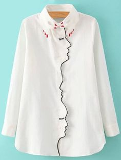 SHARE & Get it FREE | Embroidery Shirt Collar Figure Pattern ShirtFor Fashion Lovers only:80,000+ Items • New Arrivals Daily Join Zaful: Get YOUR $50 NOW!
