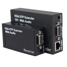 Новый Двойной Видео VGA UTP 1x1 Splitter Extender с Аудио до Cat5/6 300 М VGA UTP Extender Отправитель Ресивер с США разъем