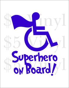 Superhero on Board Vinyl Car Decal, Hero, Wheelchair, Sticker, Superfriends, Special Needs, Disability, Handicap Window Decal - pinned by pin4etsy.com