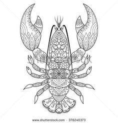Lobster line art design for coloring book, logo, t shirt design, tattoo and so… Lobster Ink, Lobster Tattoo, Book Logo, Horse Coloring Pages, Coloring Books, Coloring Stuff, Coloring Sheets, Adult Coloring, Watercolor Paper Texture