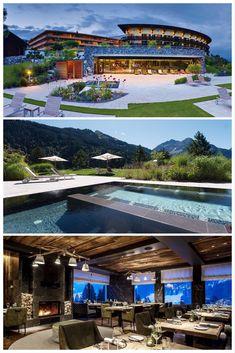5 Star Spa, Santorini Villas, Winter Destinations, Beautiful Hotels, Resort Spa, Austria, Bungalow, Luxury Homes, Palace
