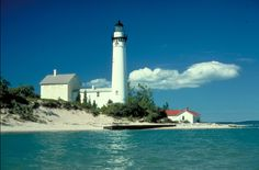 Beautiful Bay Point lighthouse in Marquette Michigan. Look at Lake Superior's blue water!
