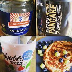 Healthy breakfast.. #protein #pancakes #coconutbutter #nonsugeredstrawberryjam #jam #ica #strawberry #nosugaradded #omninutrition ##kungmarkatta #vigin #krav #SELF #lactosefree #glutenfree #doubleprotein #lowcarb #goodwhey #nonhormonal #chemicalfree #breakfast #healthyliving #healthy #healthysnacks #goodfood by jazzie__fizzle