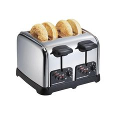 Classic 4-Slice Toaster with Extra Wide Slots in Chrome (Grey)
