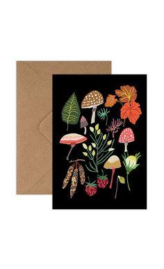 Mushrooms & Moss Greetings Card — Brie Harrison Hibiscus, Winter Window Display, English Gifts, Modern Crafts, Pet Rocks, Card Envelopes, Print Artist, Botanical Illustration, Brie