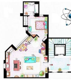 How great is this for beginners?  Teach rooms in a house, describing objects or even directions using TV characters' surroundings!    This one is l'appartement de Penny, Big Bang Theory Simpsons & others available