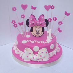 Mini Mouse Birthday Cake, Mini Mouse Cake, Pink Birthday Cakes, Minnie Birthday, 2nd Birthday, Birthday Parties, Bolo Minnie, Minnie Cake, Mickey Cakes