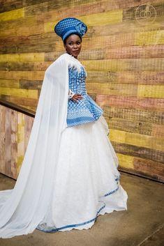 Shweshwe Traditional African Wedding Dress by Shifting Sands - Ebontu.com  #africandress #shweshwe #weddingdress #traditionaldress #africanweddings #africanfashion
