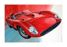 Original Car Painting by Cedric Gachet Ferrari Rouge, Jaguar, Ford, Realism Art, Automotive Art, Car Painting, Paper Art, Saatchi Art, Original Paintings