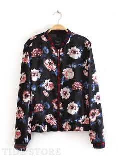 To find out about the Black Long Sleeve Zipper Floral Jacket at SHEIN, part of our latest Jackets ready to shop online today! Latest Street Fashion, Latest Fashion For Women, Womens Fashion, Venus Swimwear, Floral Jacket, Blazer, Cheap Dresses, Jackets For Women, Fashion Outfits