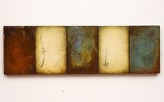 "Luisa Sartori - ""Sequenza"" 2001 Gesso, oil, copper leaf on wood x Famous Art, Jackson Pollock, People Art, Still Life Photography, Abstract Art, Abstract Paintings, Bead Art, Oeuvre D'art, Mixed Media Art"