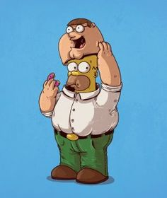 Homer Simpson Peter Griffin The Simpsons Family Guy Peter Griffin, Homer Simpson, Cartoon Kunst, Cartoon Art, Cultura Pop, The Simpsons, Iconic Characters, Cartoon Characters, Fictional Characters