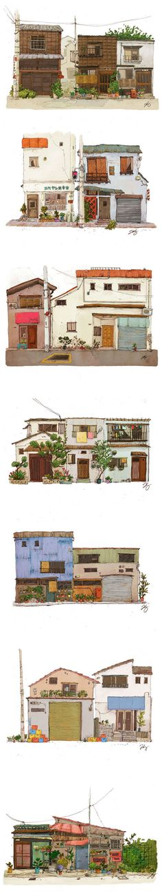 Watercolor and hand drawn / sketched house illustrations - architectural drawing / rendering japan illustration, Japan Illustration, Building Illustration, Environment Concept, Environment Design, Grafic Design, Illustration Inspiration, Bg Design, Drawn Art, Hand Drawn