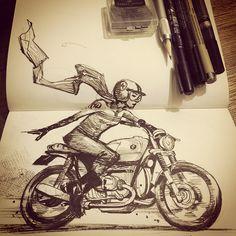 """Cafe Racer I suck at drawing motorcycles. Bike Drawing, Drawing Sketches, Art Drawings, Drawing Art, Art And Illustration, Illustrations, Motorcycle Art, Bike Art, Street Art"