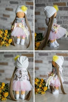 Rose doll Tilda doll Art doll Holiday doll handmade yellow brown pink color Soft…
