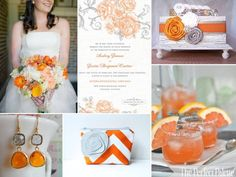 tangerine and gray http://www.theperfectpalette.com/2012/03/citrus-soiree-shades-of-orange-gray.html