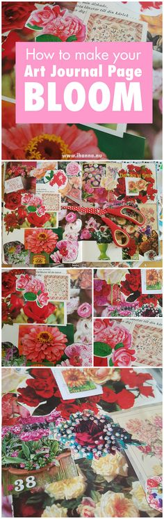 How to make your Art Journal Bloom you ask? Follow along as I transform this Altered Book page into a field of flowers with a flower power collage trick.