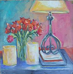 Mom's Lamp and Daves Roses12X12 by Escape Artists Studio Oil ~  x