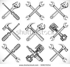 repair tools Wrench, screwdriver, hammer, piston and spark plug. Repair tools icon isolated on white background, vector illustration Wrench Tattoo, Tool Tattoo, Hammer Tattoo, Car Tattoos, Body Art Tattoos, Tattoo Grafik, Car Repair Service, Spark Plug, Illustration
