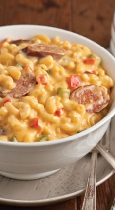 Cajun Macaroni and Cheese pasta idea with recipe : Here in Louisiana Cajun country we love to cook and eat. Tired of just plain Mac and Cheese, Spice it up with smoked Sausage of your choice and Bell Peppers. Bursting with flavor. Louisiana Recipes, Cajun Recipes, Southern Recipes, Cooking Recipes, Cajun And Creole Recipes, Haitian Recipes, Southern Food, Cooking Games, Donut Recipes