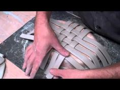 pottery basket part 1. weaving with clay slab strips.