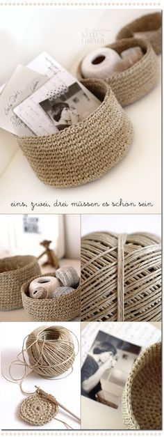 "Crocheted storage bowls from packing twine.You need to google ""Les Tissus Colbert: Kelly's Corner: das geht wie am Schnürchen"" and translate the pattern into English"