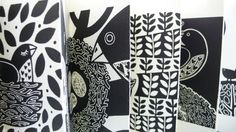 The Lino Bird- concertina book by Linda M Farqhuarson