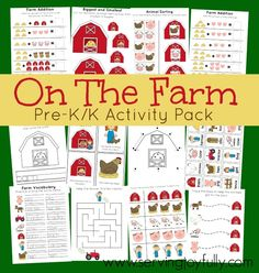 On The Farm Pre-K/K Printable Activity Pack FREE for a limited time from Serving Joyfully. Freebie Link is expired
