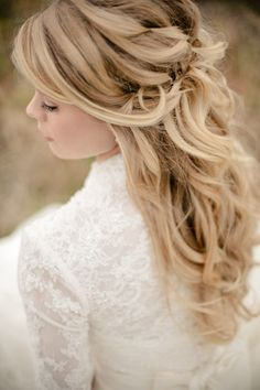 Softly Curled Half-Updo - Feminine Bridal Hair --if your getting your hair did i reccommend putting in clip on extensions to make your hair seem fuller all night and prevent you from looking like a pin head in your big gown