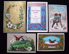5 x Antique Victorian Printed New Years Greeting Cards - Various Designs