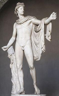A escultura retrata Apolo, deus da beleza e da medicina. Ao apoderar-se do oráculo de outra deusa, em Delfos, ele se tornou também o deus da profecia. Apolo era filho de Zeus e tinha uma irmã gêmea, Ártemis. Sua lenda também está relacionada às Olimpíadas