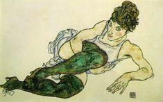 """Egon Schiele - """"Femme allongée aux bas verts"""" 1917 - Gouache"""