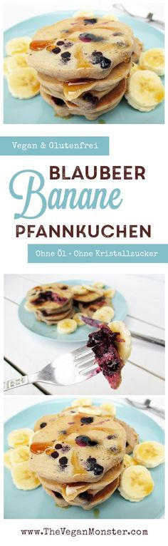 vegane glutenfreie blaubeer bananen pfannkuchen ohne zucker ohne milch ohne ei rezept.