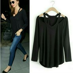 BLACK LONG SLEEVE CUTOUT TOP PLEASE DO NOT BUY THIS LISTING. Let me know what size you want and I will create another post for you. Cutout in the shoulder area. Wear with leggings or skinny jeans Tops Blouses
