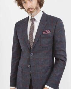 Checked jacket - Dark Blue | Relaxed Tailoring | Ted Baker ROW
