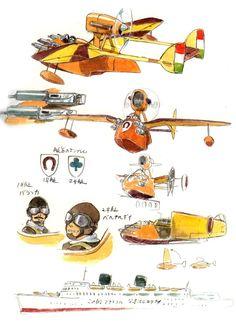 Porco Rosso Concept Art Prop Design by Ghibli Studios Totoro, Storyboard, Studio Ghibli Characters, The Cat Returns, Film D'animation, Bd Comics, Prop Design, Hayao Miyazaki, Visual Development