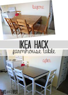 Inexpensive IKEA table to a farmhouse table