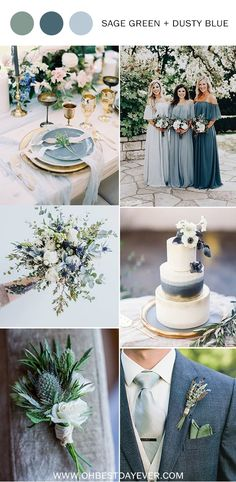 10 Perfect Shades of Green Wedding Color Ideas for Spring/Summer 2019 - Oh Best Day Eversage green and dusty blue wedding color DIY Wedding Decorations That Will Make A Spring Wedding Memorable - Wedding Ceremony, Wedding Day, Trendy Wedding, Wedding Blue, Blue Wedding Themes, Rustic Wedding, Diy Wedding, Blue Wedding Decorations, Wedding Ideas Green